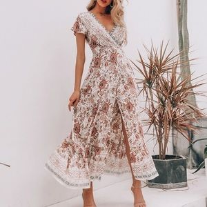 🦋 Boho Print Pink + White Floral Wrap Maxi Dress